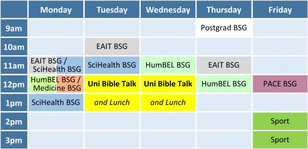 2018/2 Semester Bible Study Group timetable