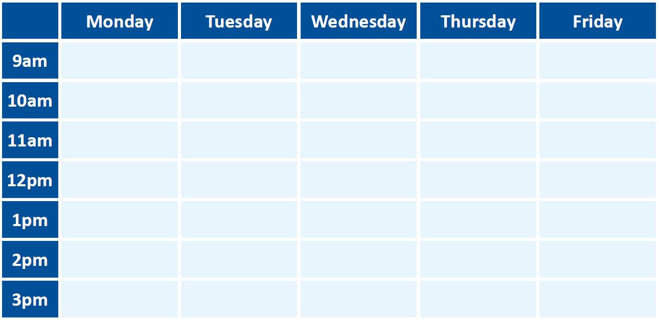 190215 - Blank ES Timetable